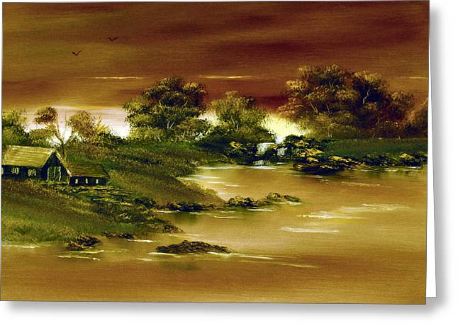 Photoshop Paintings Greeting Cards - On Golden Pond. Greeting Card by Cynthia Adams