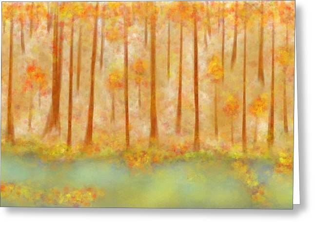 Tree Leaf On Water Digital Art Greeting Cards - On Golden pond Greeting Card by Treesha Duncan