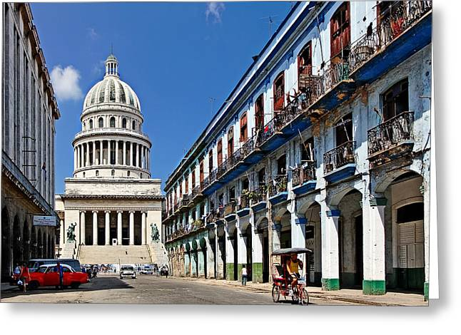 Cuban Greeting Cards - On Governments Doorstep Greeting Card by Dawn Currie