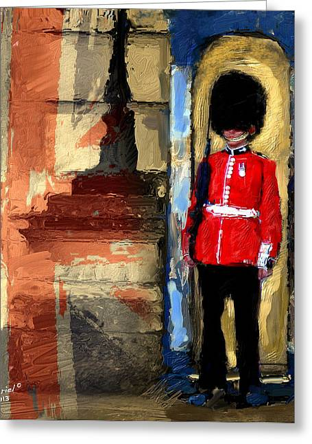 Buckingham Palace Digital Greeting Cards - On Guard For Thee Greeting Card by Ted Azriel