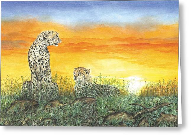 Setting Pastels Greeting Cards - On Guard Greeting Card by John Hebb