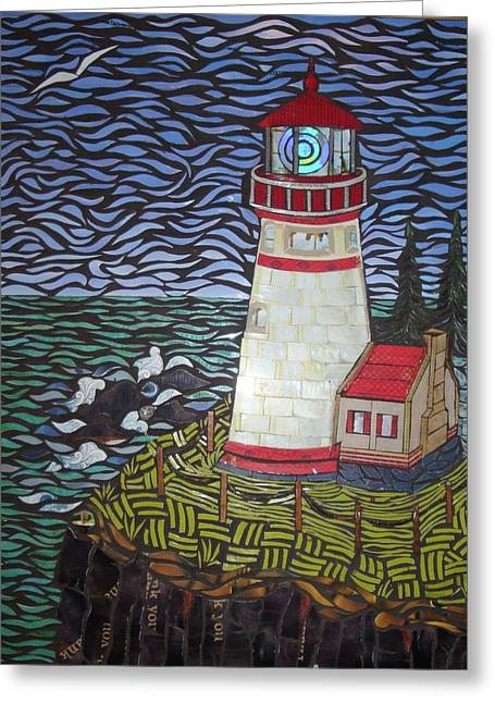 Pacific Northwest Mixed Media Greeting Cards - On Guard Greeting Card by Mary Ellen Bowers
