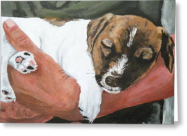 Puppies Paintings Greeting Cards - On Guard Greeting Card by Michael Dillon