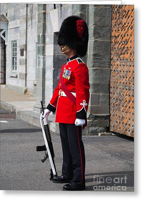 Historic Sites Greeting Cards - On Guard Quebec City Greeting Card by Edward Fielding