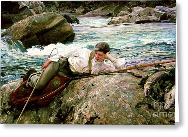 Salmon Paintings Greeting Cards - On His Holidays Greeting Card by Pg Reproductions