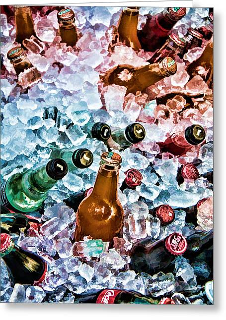 Bottle Cap Greeting Cards - On Ice Greeting Card by Lana Trussell