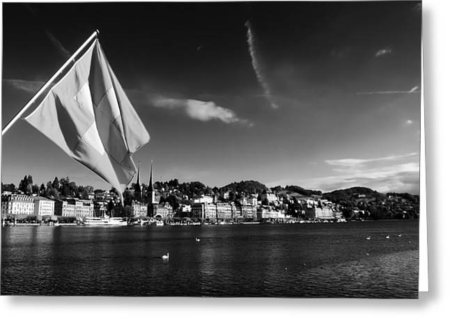 Swiss Flag Greeting Cards - On Lake Lucerne Greeting Card by Mountain Dreams