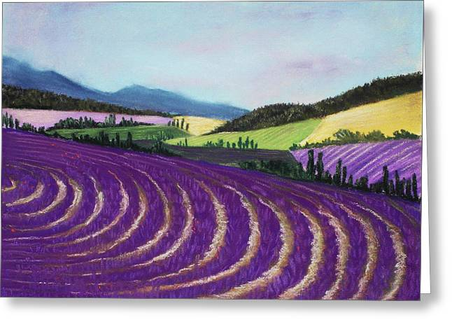 Rural Scene Pastels Greeting Cards - On Lavender Trail Greeting Card by Anastasiya Malakhova