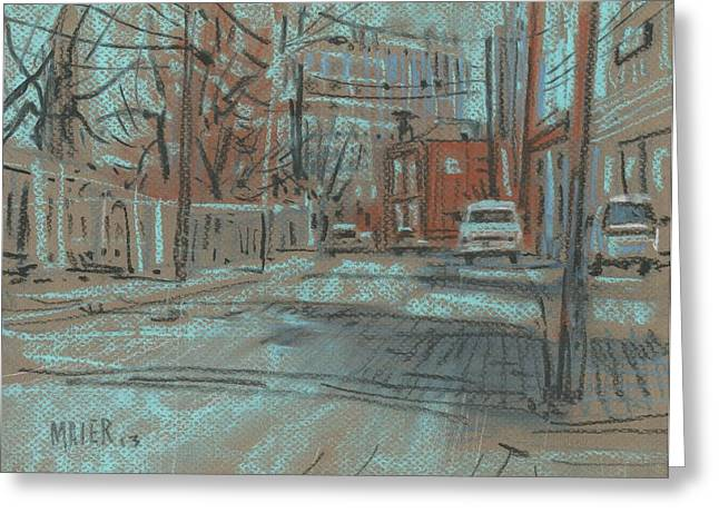 Streets Drawings Greeting Cards - On Marietta Street Greeting Card by Donald Maier