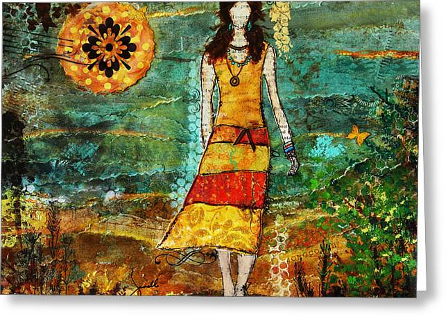 Janelle Nichol Greeting Cards - On My Way Home Unique Abstract Folk Art painting Greeting Card by Janelle Nichol