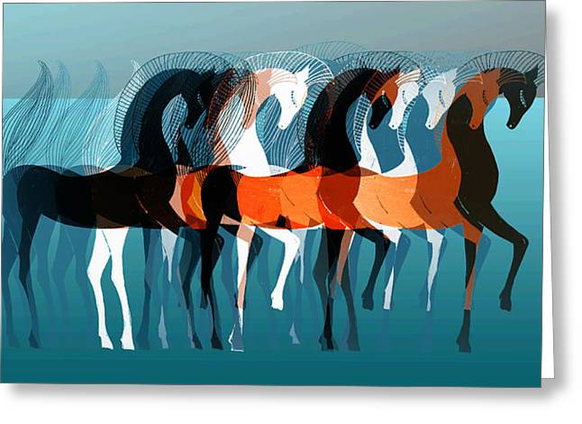 Abstract Digital Digital Art Greeting Cards - On Parade Greeting Card by Stephanie Grant
