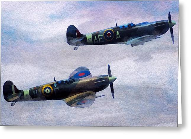 Spitfire Mixed Media Greeting Cards - On Patrol Greeting Card by Mark Taylor