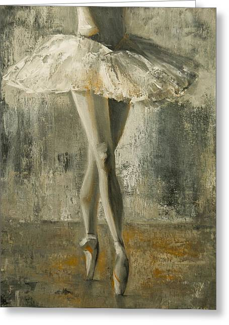 Tying Shoe Greeting Cards - En Pointe Greeting Card by Jani Freimann