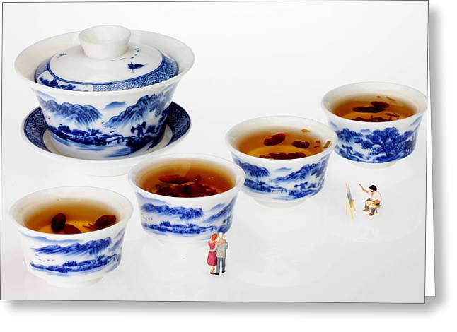 Red And Tea Greeting Cards - On porcelain ink painting exhibition little people on food Greeting Card by Paul Ge