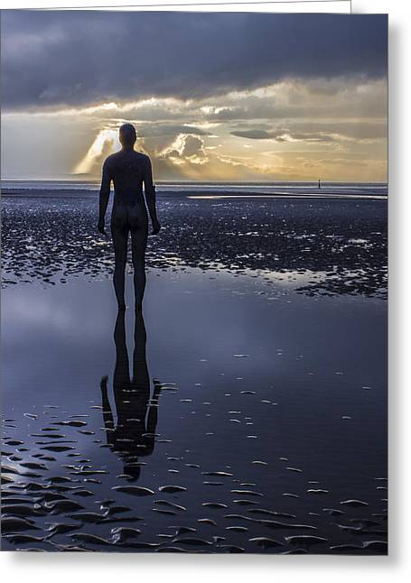 Crosby Greeting Cards - On reflection at Crosby Beach Greeting Card by Paul Madden