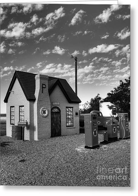 Texas Architecture Greeting Cards - On Route 66 BW Greeting Card by Mel Steinhauer