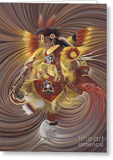Yellow Paintings Greeting Cards - On Sacred Ground Series 4 Greeting Card by Ricardo Chavez-Mendez