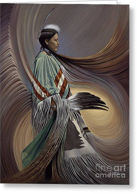 Fancy-dancer Greeting Cards - On Sacred Ground Series I Greeting Card by Ricardo Chavez-Mendez