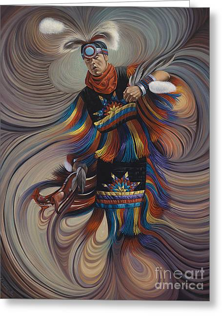 Fancy-dancer Greeting Cards - On Sacred Ground Series II Greeting Card by Ricardo Chavez-Mendez