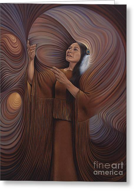 Sacred Paintings Greeting Cards - On Sacred Ground Series V Greeting Card by Ricardo Chavez-Mendez
