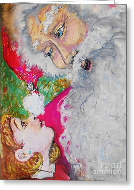 Nicholas Pastels Greeting Cards - On Santas Lap Greeting Card by Emily Michaud