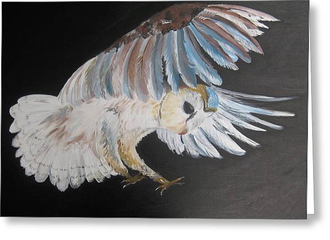 Girl And Animals Framed Prints Greeting Cards - On Silent Wings Greeting Card by Cathy Jacobs