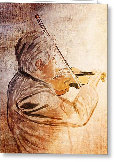 Playing Musical Instruments Drawings Greeting Cards - On Stage The Violinist Greeting Card by Angela A Stanton