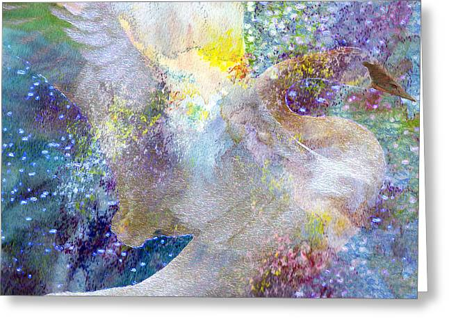 Kathy Bassett Greeting Cards - On Swans Wings Greeting Card by Kathy Bassett
