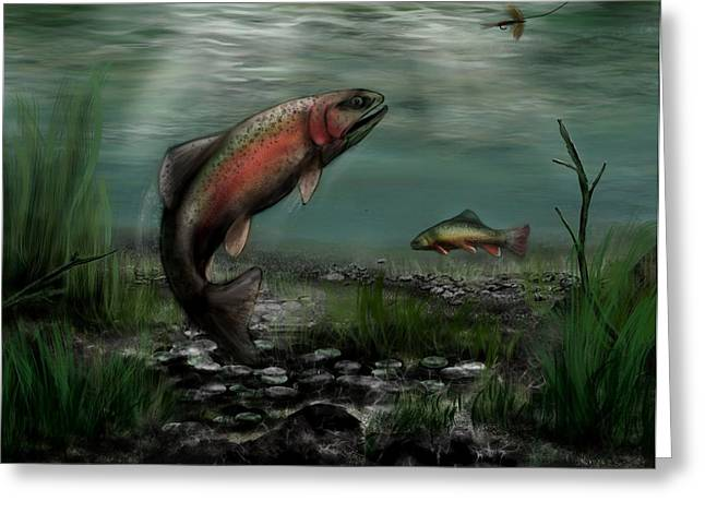 Salmon Paintings Greeting Cards - On The Attack - Rainbow Trout after a Fly Greeting Card by Ron Grafe