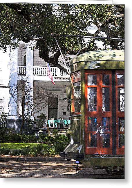 St Charles Avenue Greeting Cards - On the Avenue - Painted Greeting Card by Cheri Randolph