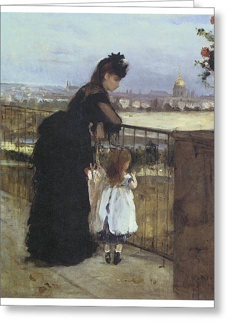 Woman In A Dress Greeting Cards - On the Balcony Greeting Card by Berthe Morisot