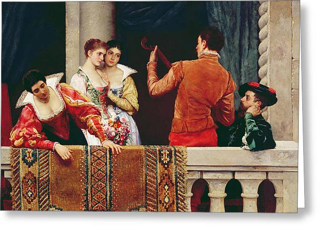 On The Balcony Greeting Card by Eugen von Blaas