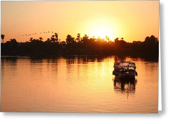 Boat Cruise Greeting Cards - On the banks of the Nile.. Greeting Card by A Rey