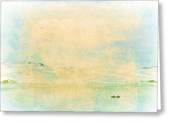 Canoe Greeting Cards - On the Bay Greeting Card by Pamela Cooper