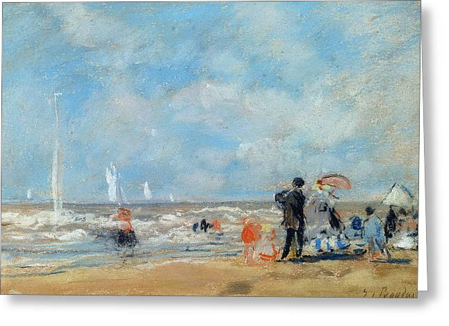 Sur Greeting Cards - On The Beach, 1863 Wc & Pastel On Paper Greeting Card by Eugene Louis Boudin