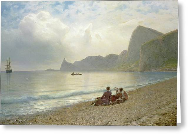 Seaside Photographs Greeting Cards - On The Beach, 1884 Oil On Canvas Greeting Card by Lef Feliksovich Lagorio
