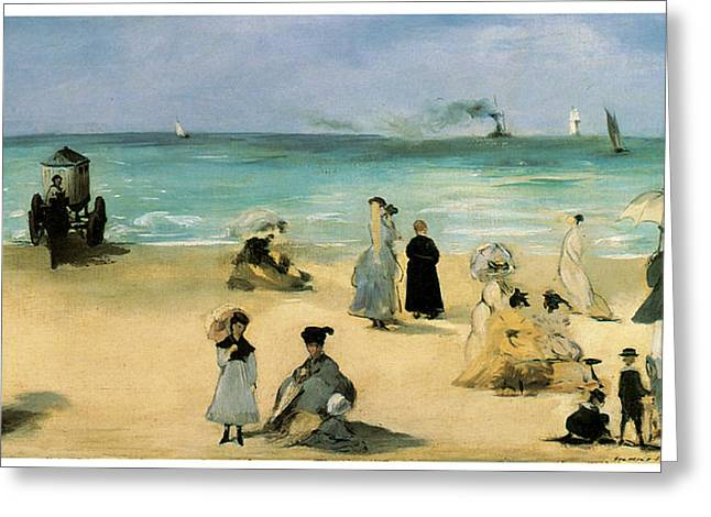 People At The Beach Greeting Cards - On the beach at Boulogne Greeting Card by Edouard Manet