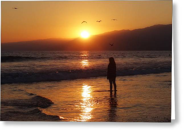 Surf Silhouette Greeting Cards - On the Beach at Sunset Greeting Card by Mountain Dreams