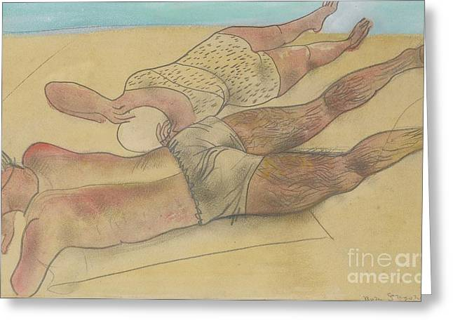Strength Paintings Greeting Cards - On The Beach Greeting Card by Celestial Images