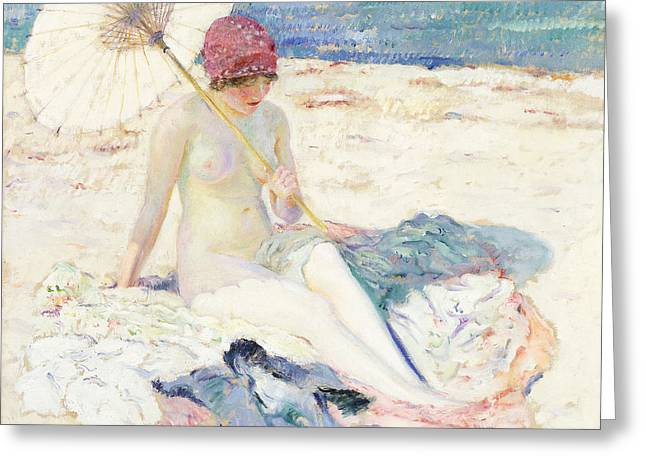 On The Beach Greeting Cards - On the Beach Greeting Card by Frederick Carl Frieseke