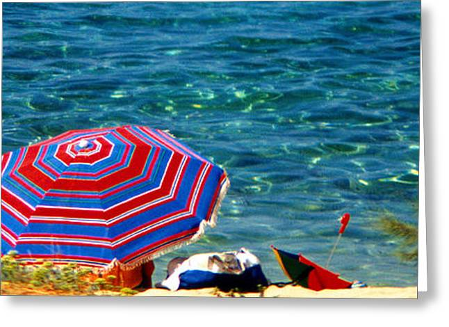 On The Beach Greeting Cards - On the beach Greeting Card by George Rossidis