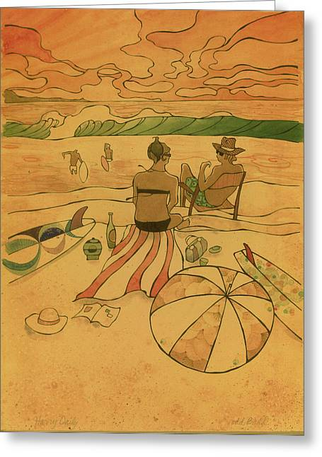 Surf Art Greeting Cards - On The Beach Greeting Card by Harry Holiday