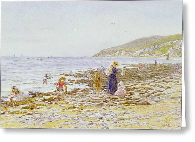 Children At Beach Greeting Cards - On the Beach Greeting Card by Helen Allingham