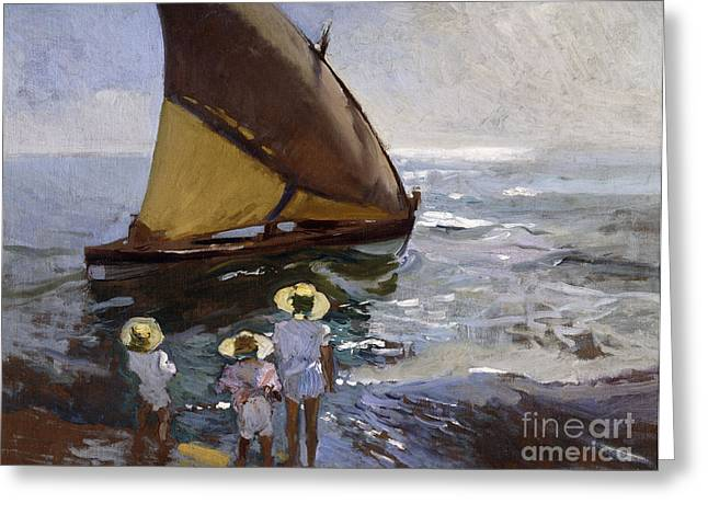 Sailboat Art Greeting Cards - On the Beach Greeting Card by Joaquin Sorolla y Bastida