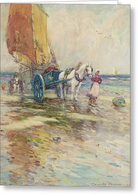 Horse And Cart Paintings Greeting Cards - On the Beach  Greeting Card by Oswald Garside