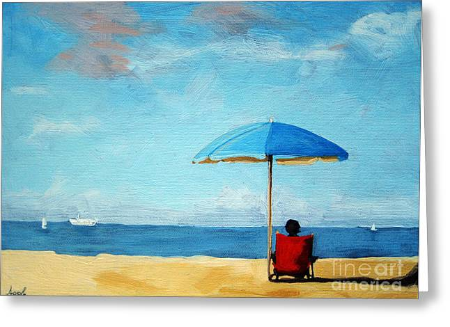 Linda Apple Paintings Greeting Cards - On the beach - Special TIme Greeting Card by Linda Apple