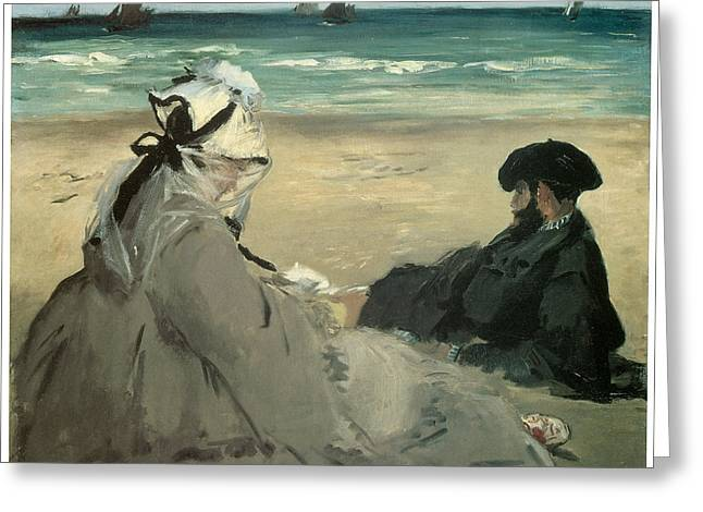 Couple On Beach Greeting Cards - On the Beach Suzanne and Eugene Manet at Berck Greeting Card by Edouard Manet