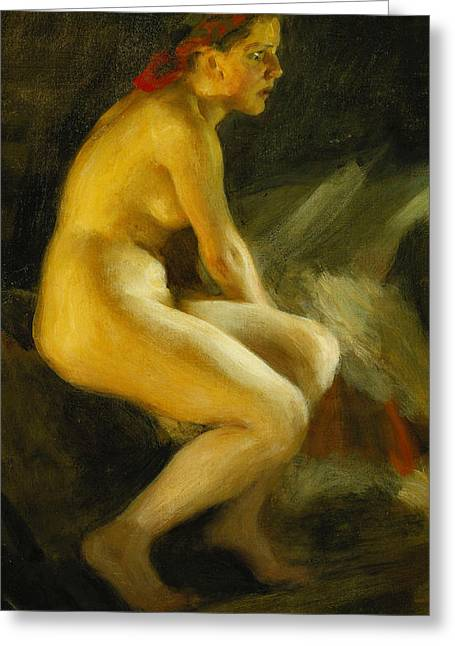 Young Adult Greeting Cards - On the Bed Pa Sangkanten Greeting Card by Anders Leonard Zorn