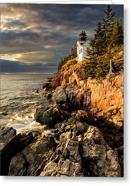 Bass Head Light Greeting Cards - On the Bluff Greeting Card by Michael Blanchette