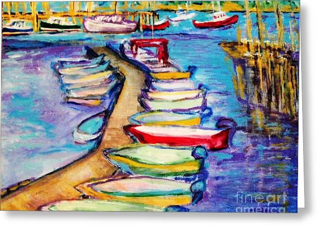 On The Boardwalk Greeting Card by Helena Bebirian